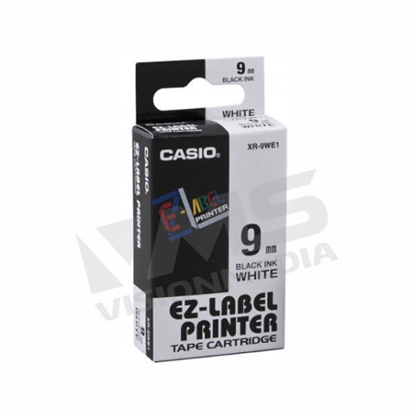 CASIO EZ-LABEL 9MM BLACK ON WHITE (XR-9WE1)
