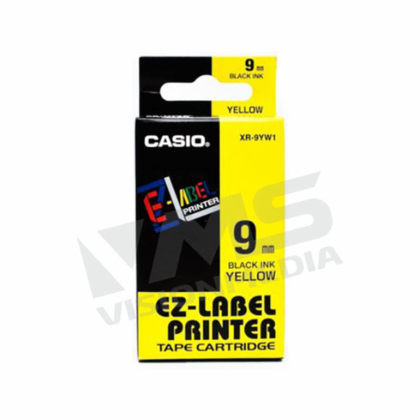 CASIO EZ-LABEL 9MM BLACK ON YELLOW (XR-9YW1)