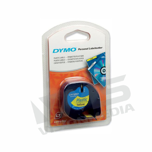 DYMO TAPE LETRATAG PLASTIC YELLOW 12MM X 4M (DY-TP-91202)