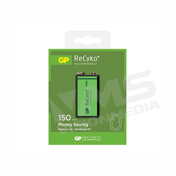 GP RECYKO+ 9V RECHARGEABLE BATTERY (GP15R8HBE-2GBAS1)