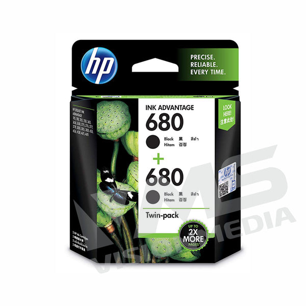 HP 680 BLACK INK CARTRIDGE TWIN PACK (X4E79AA)