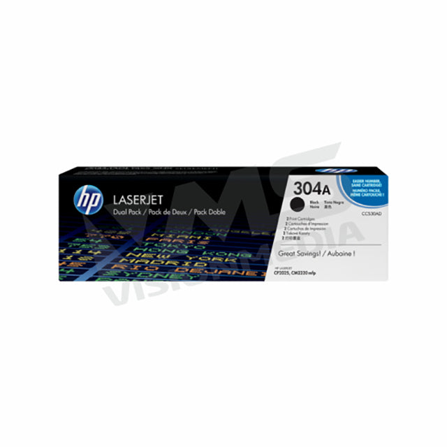 HP 304A BLACK TONER CARTRIDGE |DUAL PACK| (CC530AD)