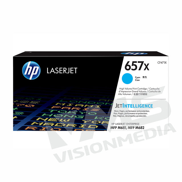 HP 657X HIGH YIELD CYAN TONER CARTRIDGE (CF471X)