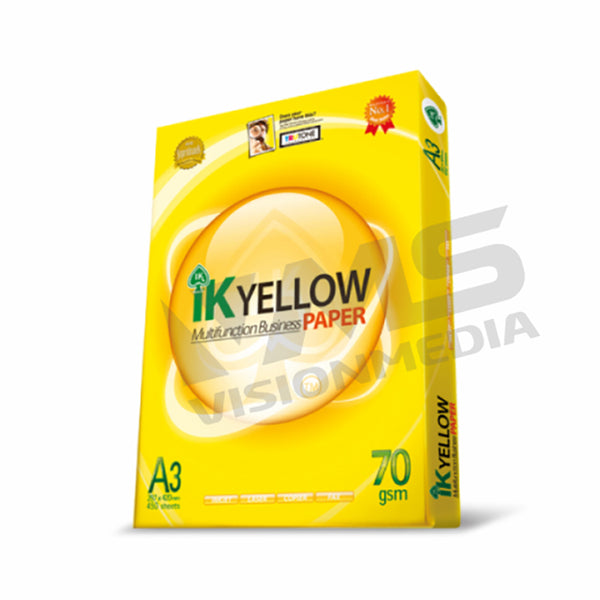 IK YELLOW 70GSM A3 SIZE PAPER (450 SHEETS)