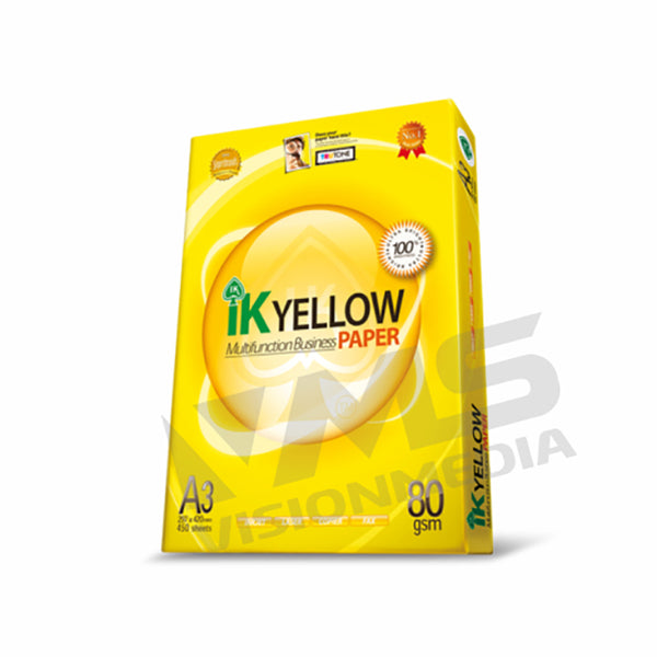 IK YELLOW 80GSM A3 SIZE PAPER (450 SHEETS)