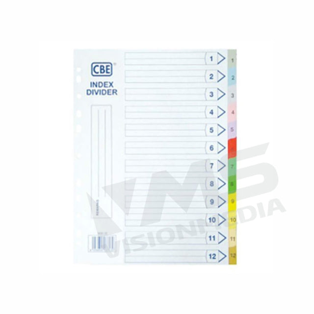 PAPER NO.1 ~ NO.12 A4 INDEX DIVIDER (907-12) (1 SET / PACK)
