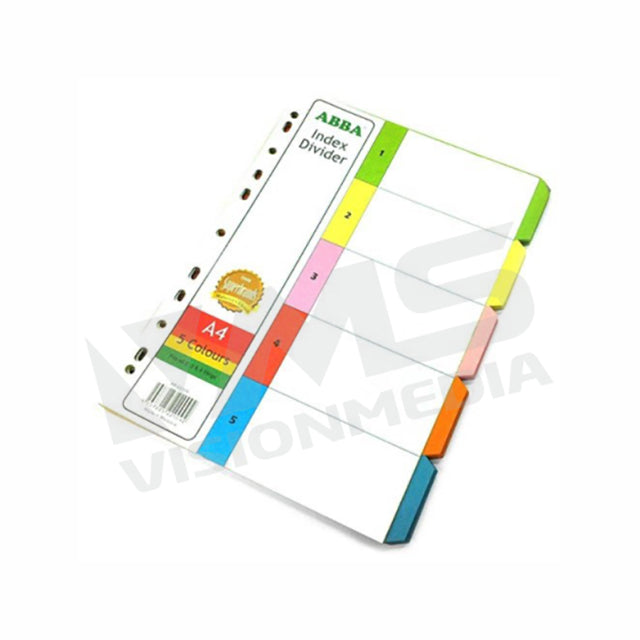 INDEX DIVIDER (PAPER) A4 5 COLOURS, 10 SETS/PACK (907-5)