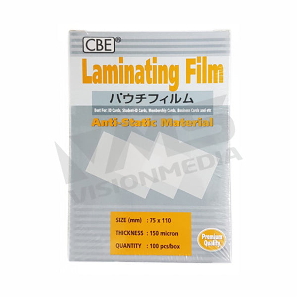 LAMINATING FILM (75MM X 110MM X 150MICRON) (100SHT/PACK)