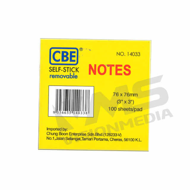 "OEM STICK ON NOTES 76MM X 76MM (3"" X 3"") (100 PCS) (CBE14033)"