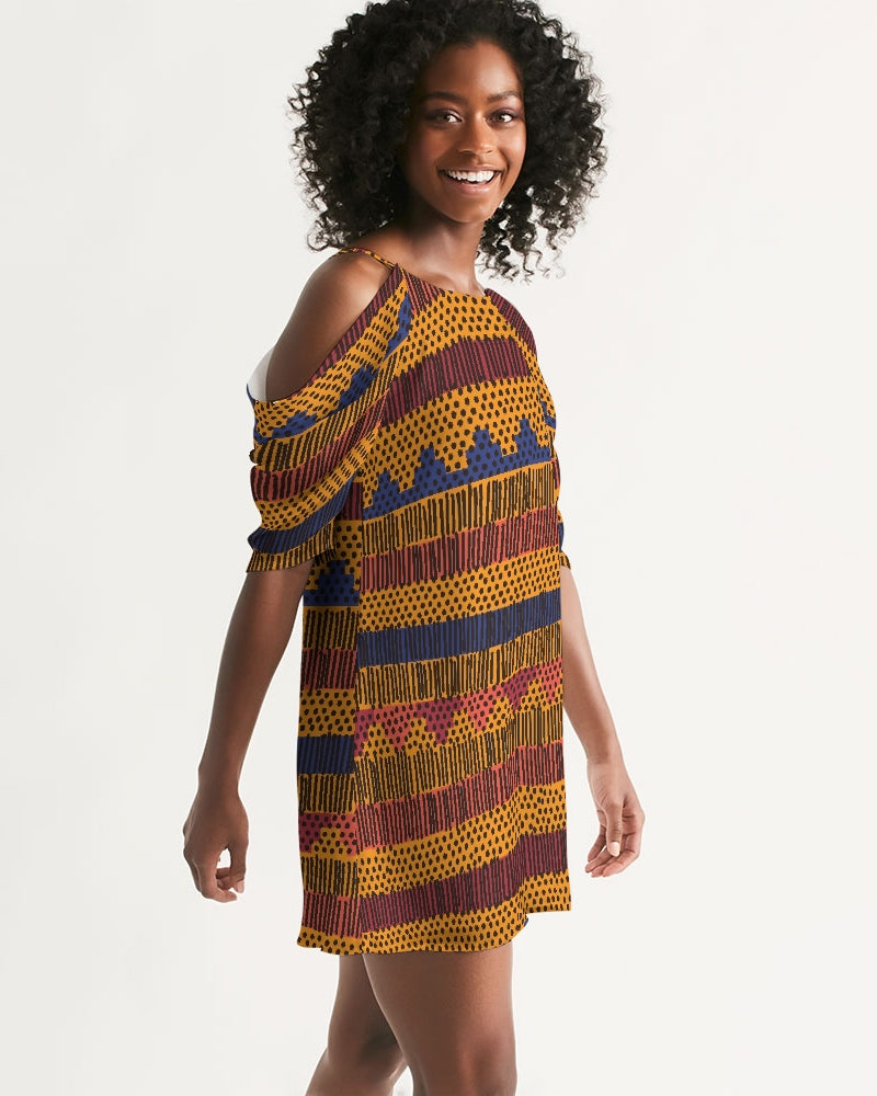 Kente Women's Open Shoulder Dress - Redsoil