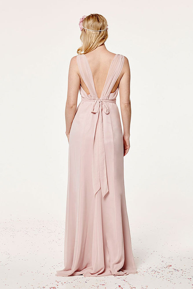Amy Fitted Blossom Pink Bridesmaids Dress (Back)