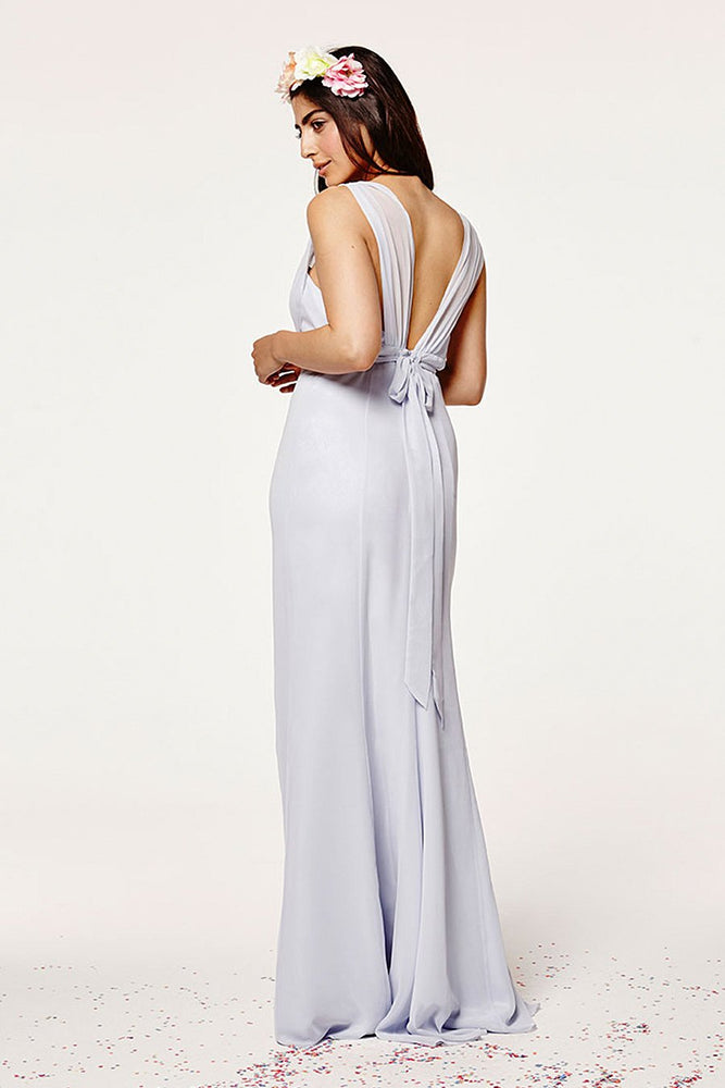 Amy Fitted Cloud Blue Bridesmaids Dress (Back)
