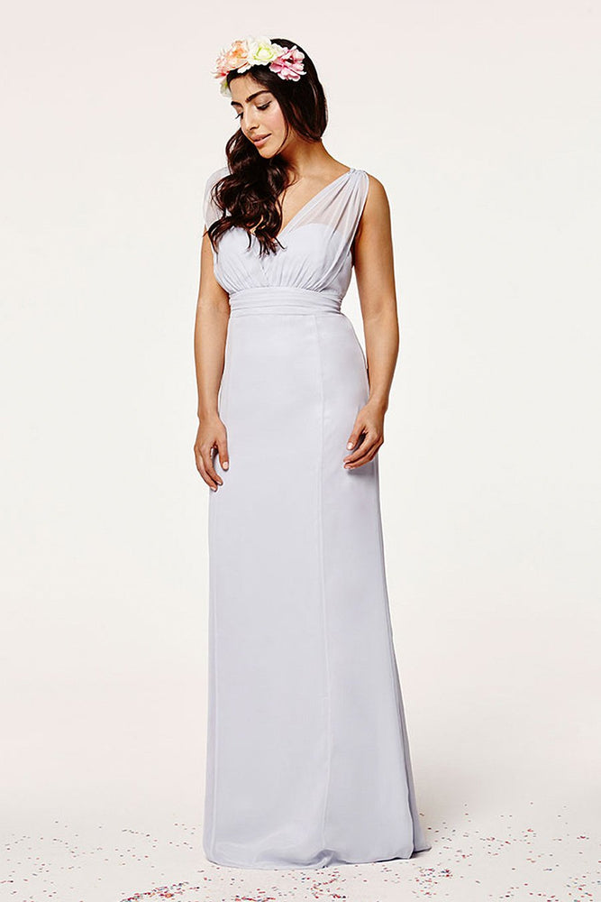 Amy Fitted Cloud Blue Bridesmaids Dress (Front)