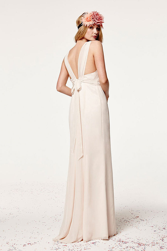 Amy Fitted Cream Soda Bridesmaids Dress (Back)