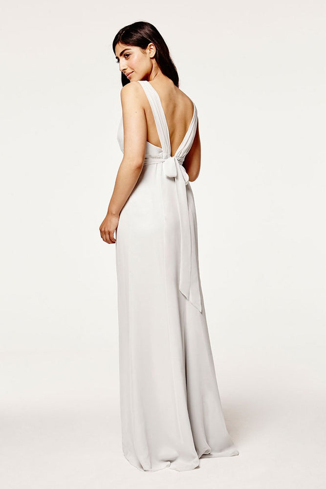 Amy Fitted Dove Grey Bridesmaids Dress (Back)