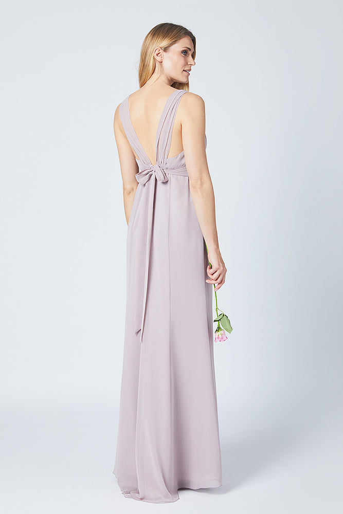 Amy Fitted Frosted Fig Mauve  Bridesmaids Dress (Back)