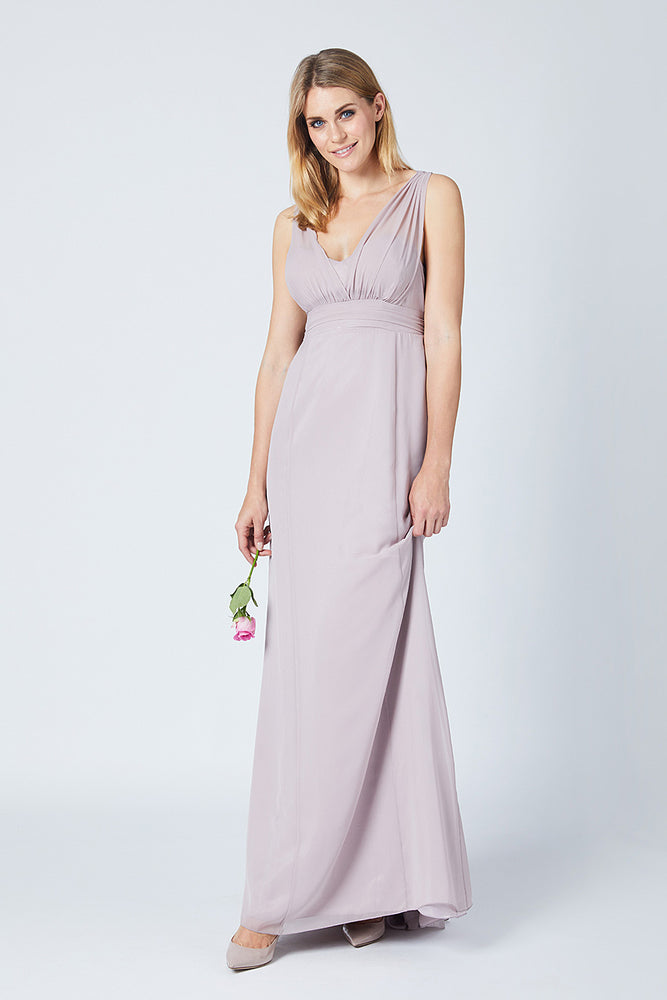 Amy Fitted Frosted Fig Mauve  Bridesmaids Dress (Front)