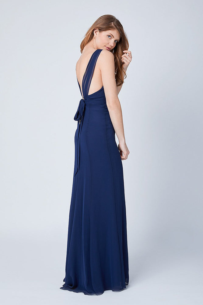 Amy Fitted Midnight Blue  Bridesmaids Dress (Back)