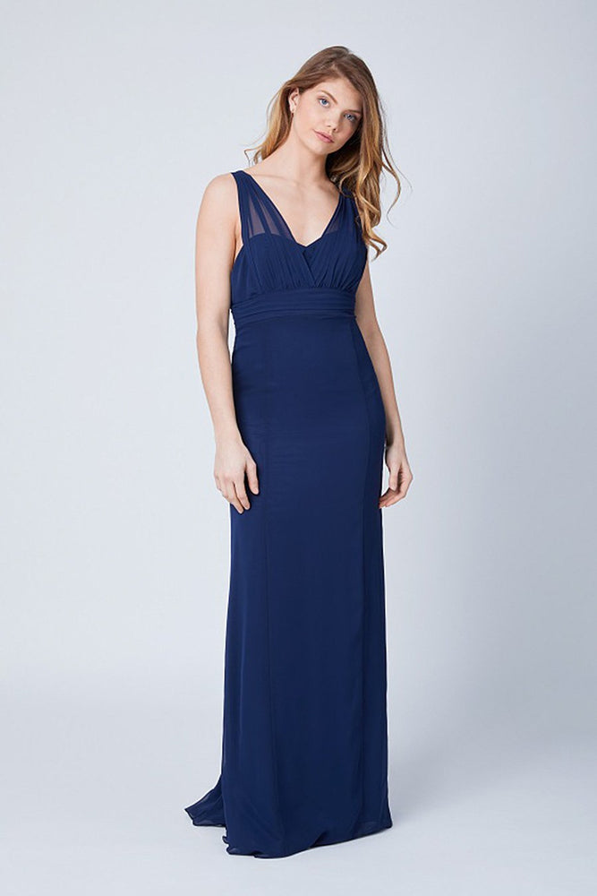Amy Fitted Midnight Blue  Bridesmaids Dress (Front)