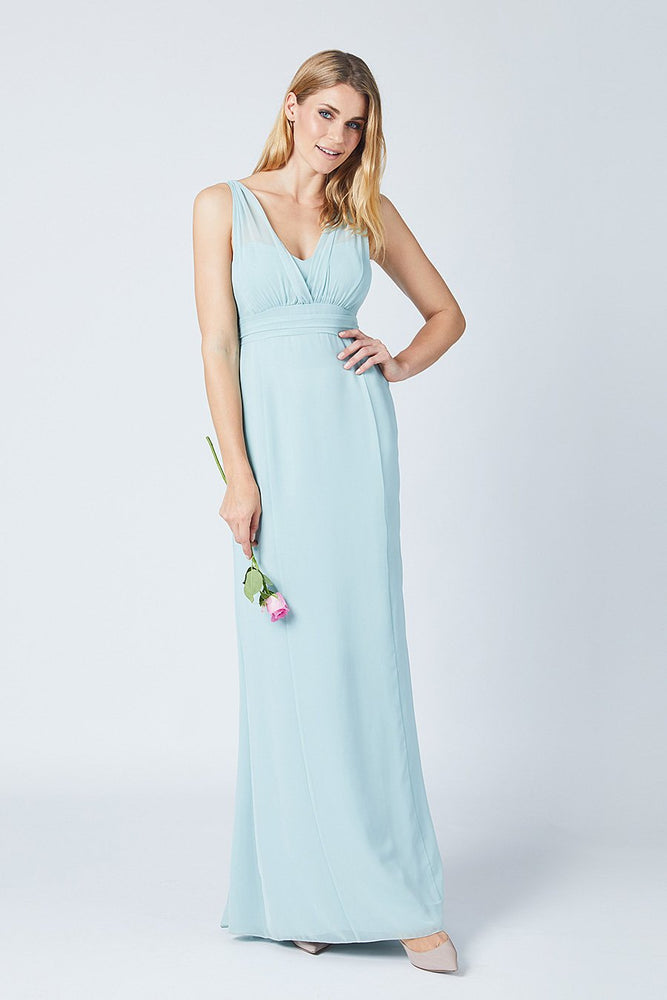 Amy Fitted Misty Green  Bridesmaids Dress (Front)