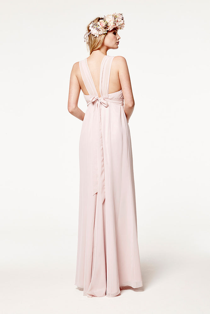 Amy Floaty Bridesmaid Dress in Blossom Pink (Rear View)