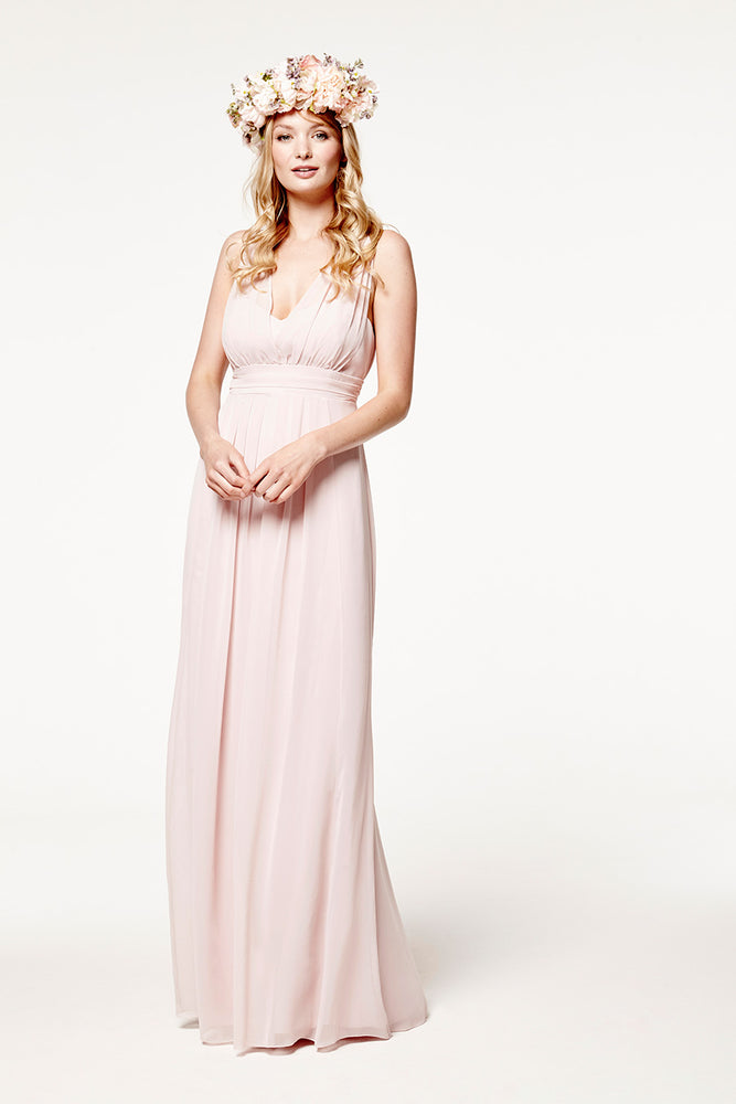 Amy Floaty Bridesmaid Dress in Blossom Pink (Front View)