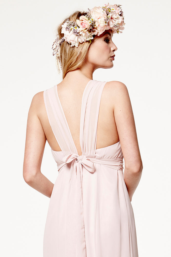 Amy Floaty Bridesmaid Dress in Blossom Pink (Rear Zoom View)