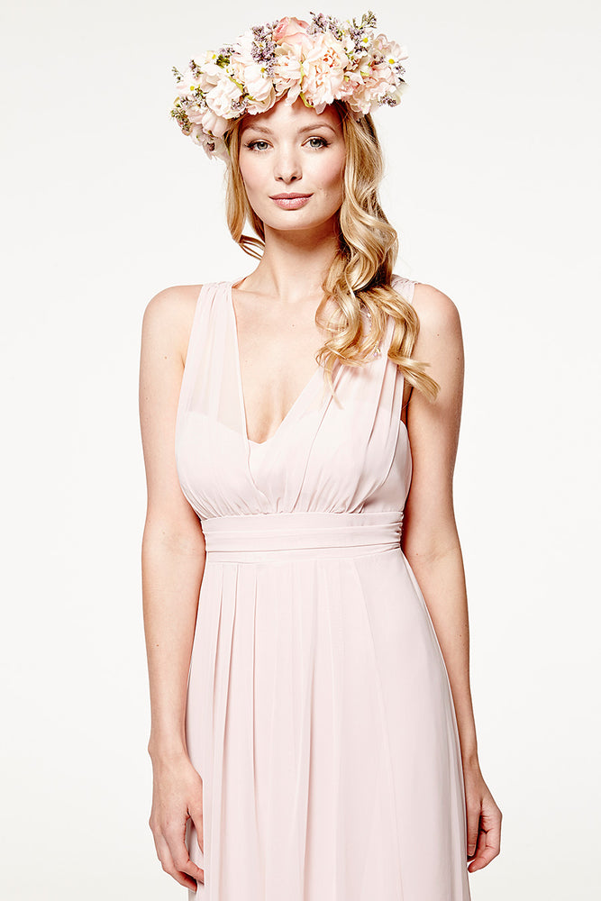 Amy Floaty Bridesmaid Dress in Blossom Pink (Front Zoom View)