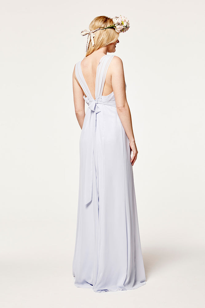 Amy Floaty Bridesmaid Dress in Cloud Blue (Rear View)