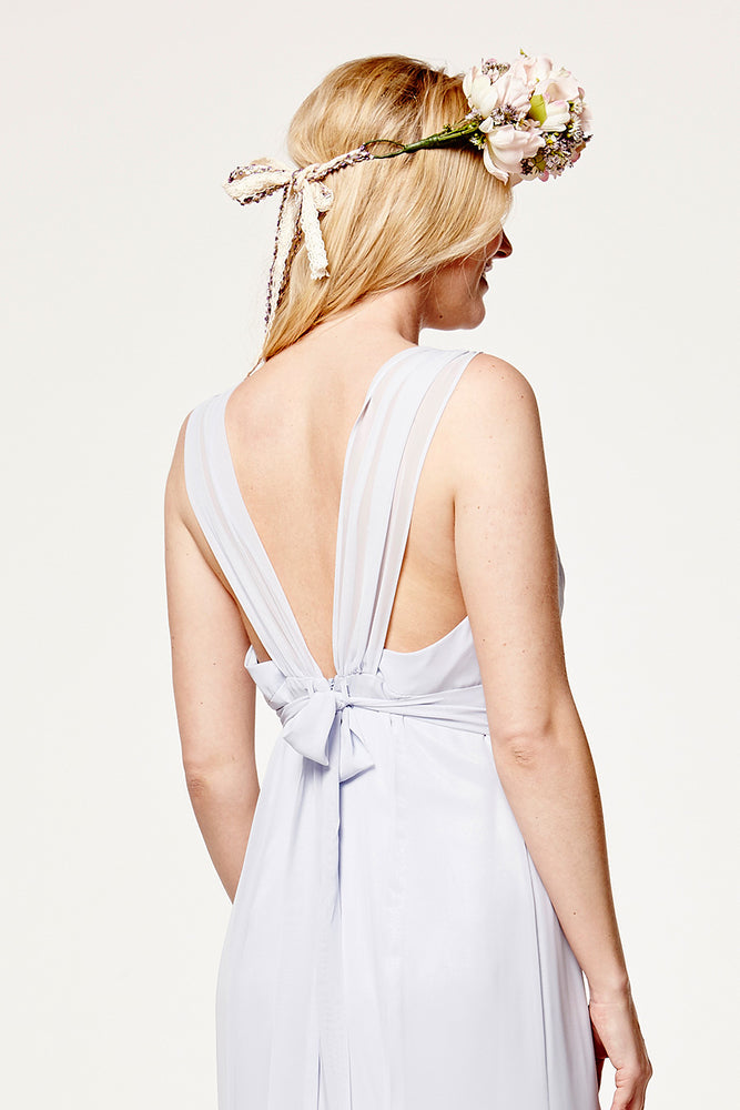 Amy Floaty Bridesmaid Dress in Cloud Blue (Rear Zoom View)