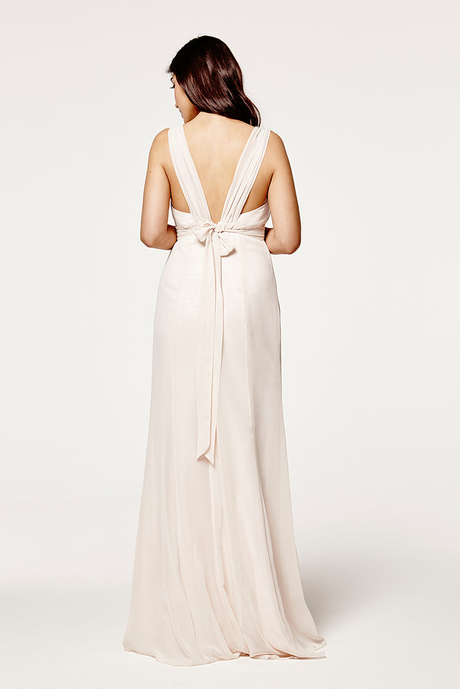 Amy Floaty Bridesmaid Dress in Cream Soda (Rear Zoom View)
