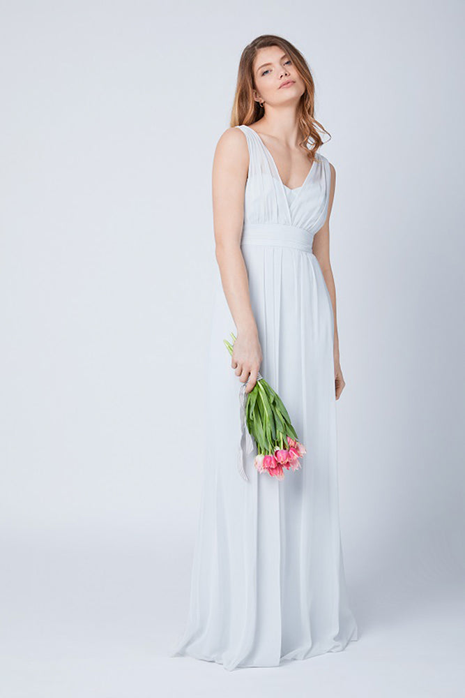 Amy Floaty Bridesmaid Dress in Dove Grey (Front View)