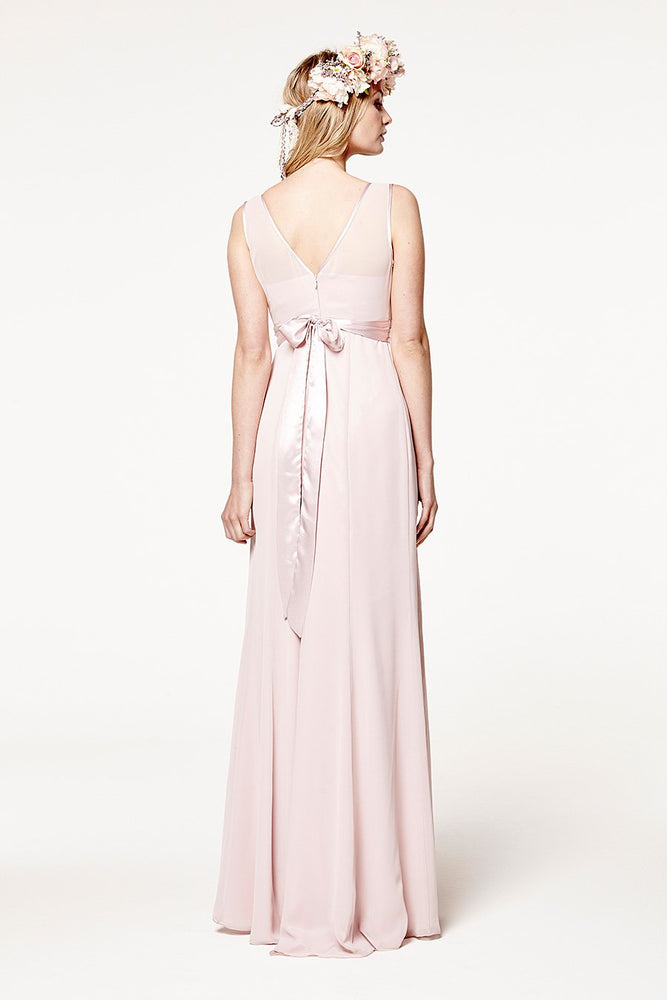 Charlotte Floaty Blossom Pink Bridesmaids Dress (Back zoom)