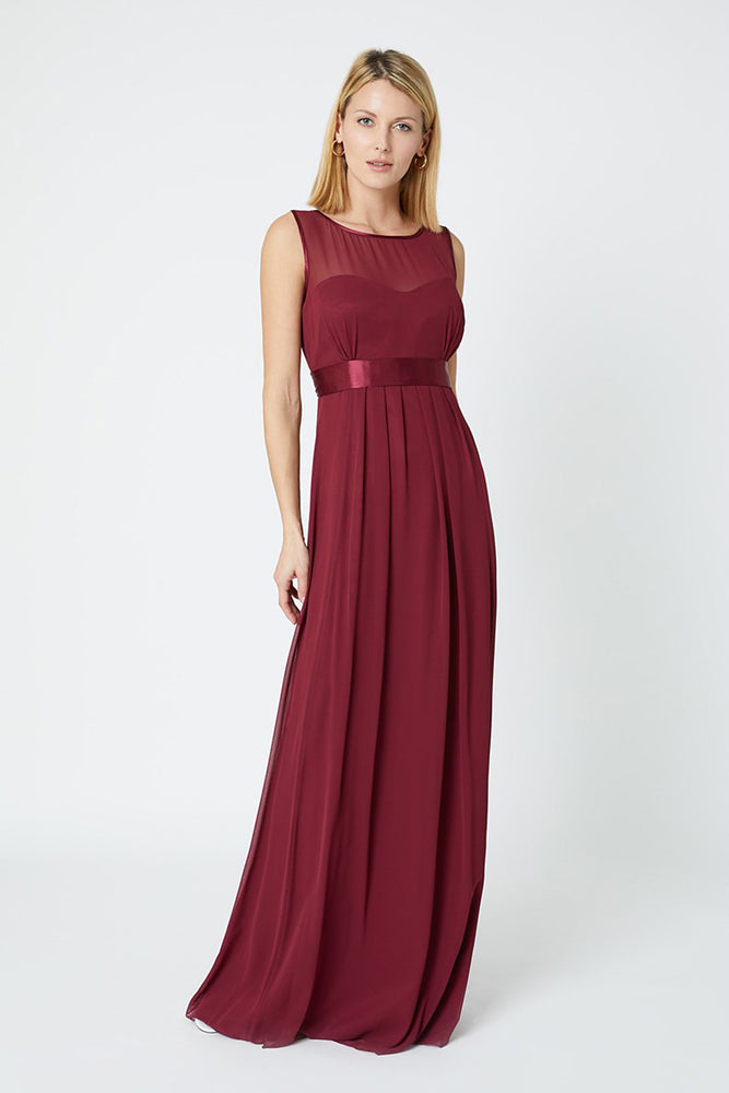 Charlotte Floaty Burgundy Red Bridesmaids Dress (Front)