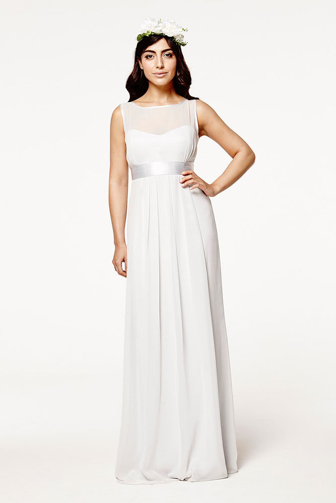 Charlotte Floaty Dove Grey Bridesmaids Dress (Front)