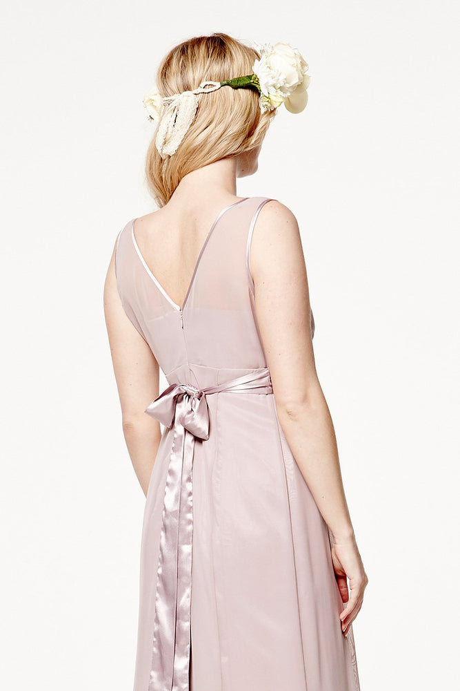 Charlotte Floaty Frosted Fig Mauve Bridesmaids Dress (Back zoom)