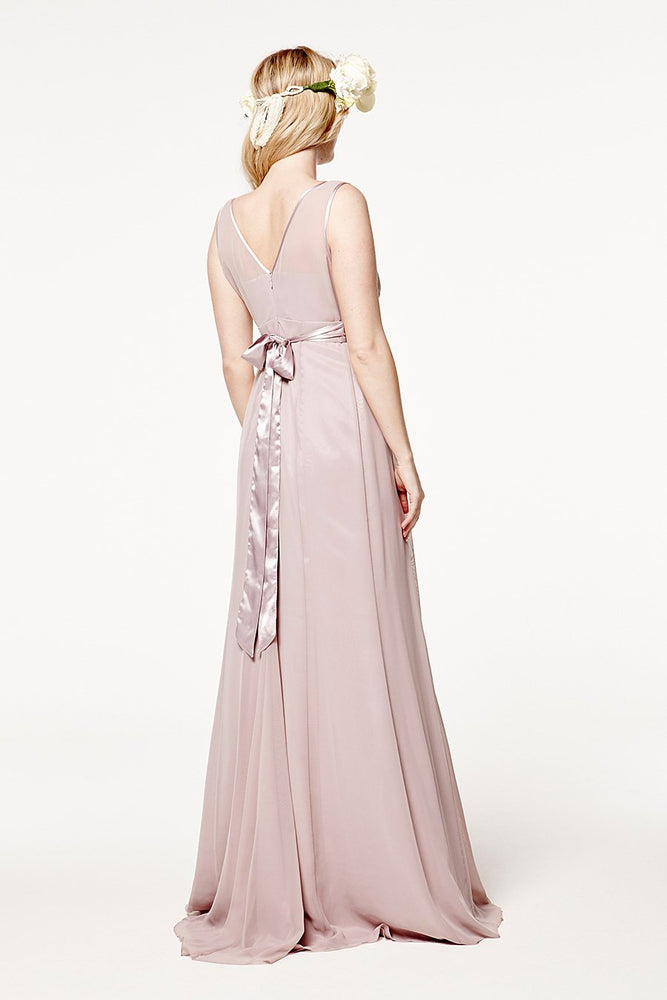 Charlotte Floaty Frosted Fig Mauve Bridesmaids Dress (Back)
