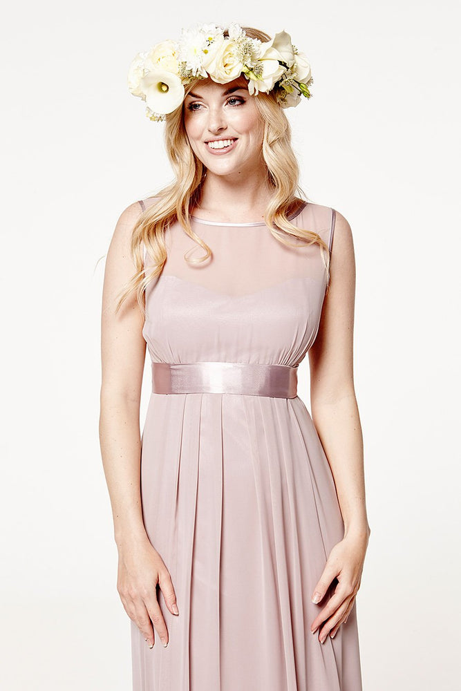 Charlotte Floaty Frosted Fig Mauve Bridesmaids Dress (Front zoom)