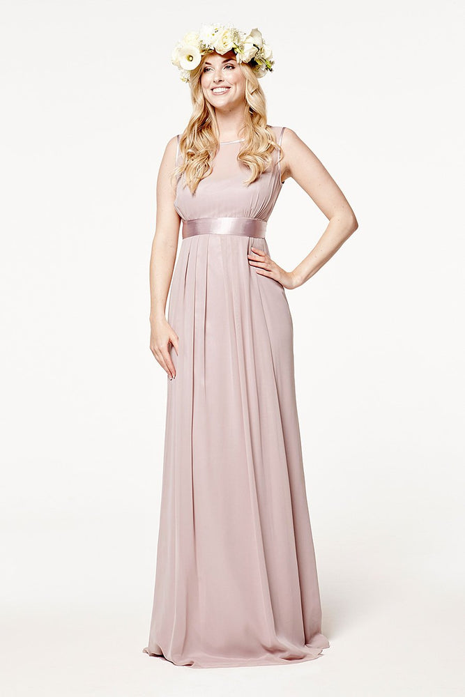 Charlotte Floaty Frosted Fig Mauve Bridesmaids Dress (Front)