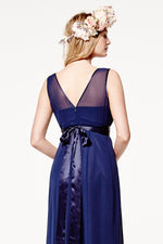 Charlotte Floaty Midnight Blue Bridesmaids Dress (Back zoom)