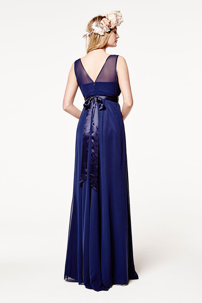 Charlotte Floaty Midnight Blue Bridesmaids Dress (Back)
