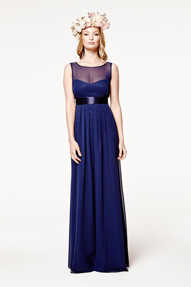 Charlotte Floaty Midnight Blue Bridesmaids Dress (Front)