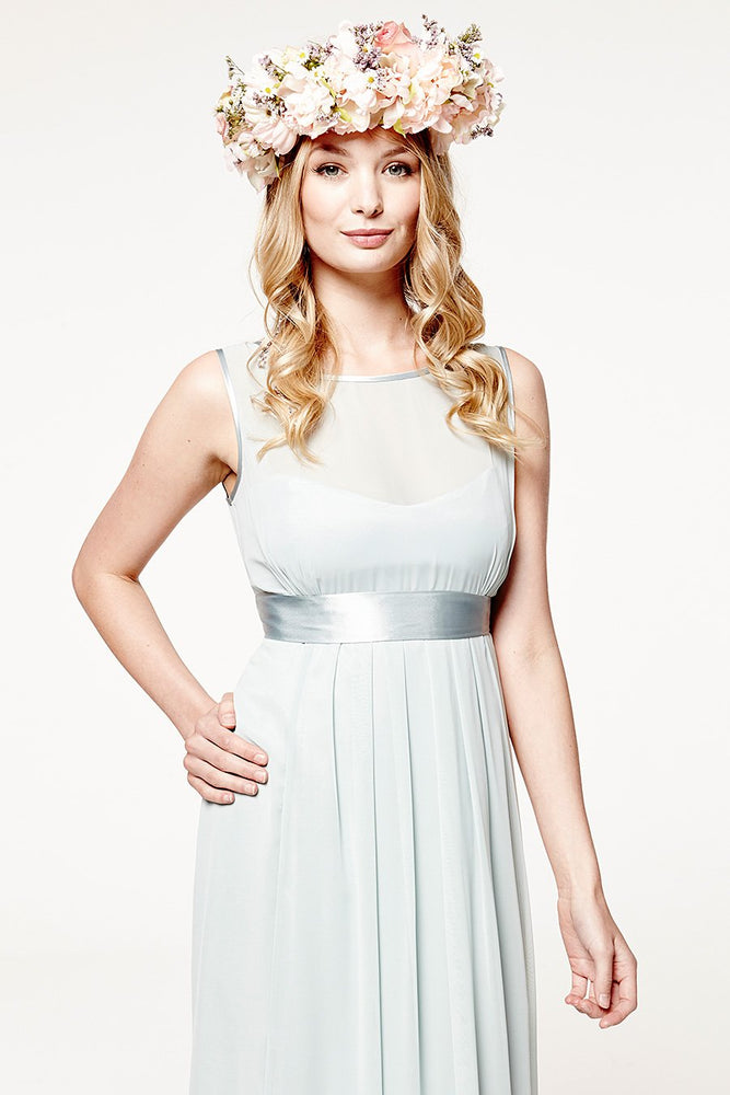 Charlotte Floaty Misty Green Bridesmaids Dress (Front zoom)