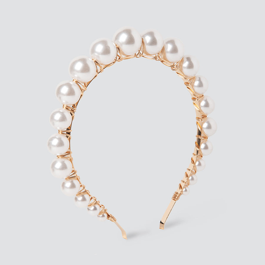 Faux Pearl Graduated Cream Headband