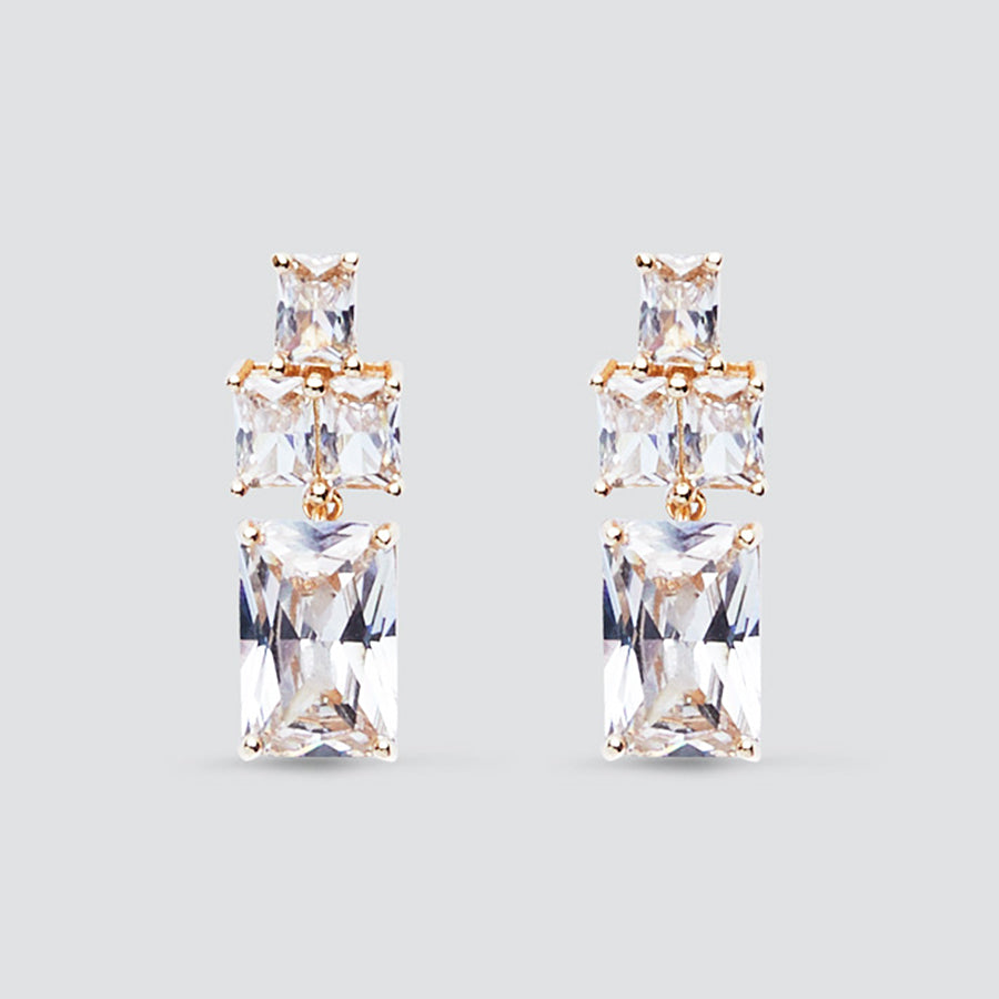 Graduated Gold Crystal Drop Clip On Earrings