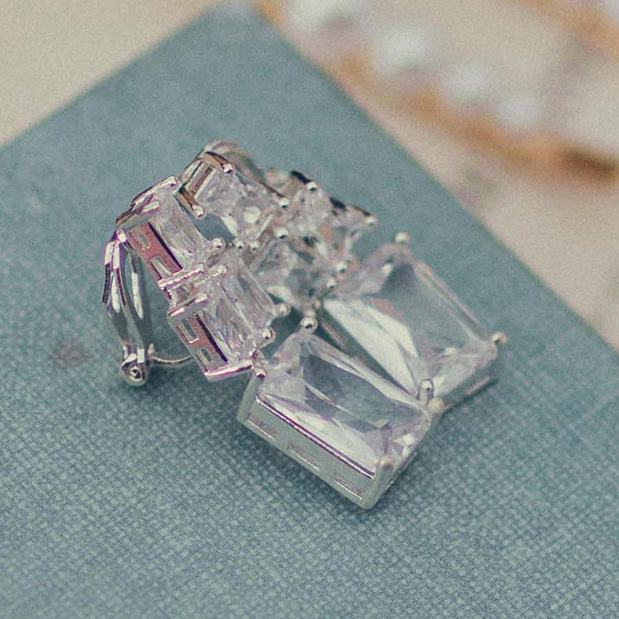 Graduated Silver Crystal Drop Clip On Earrings (Lifestyle)