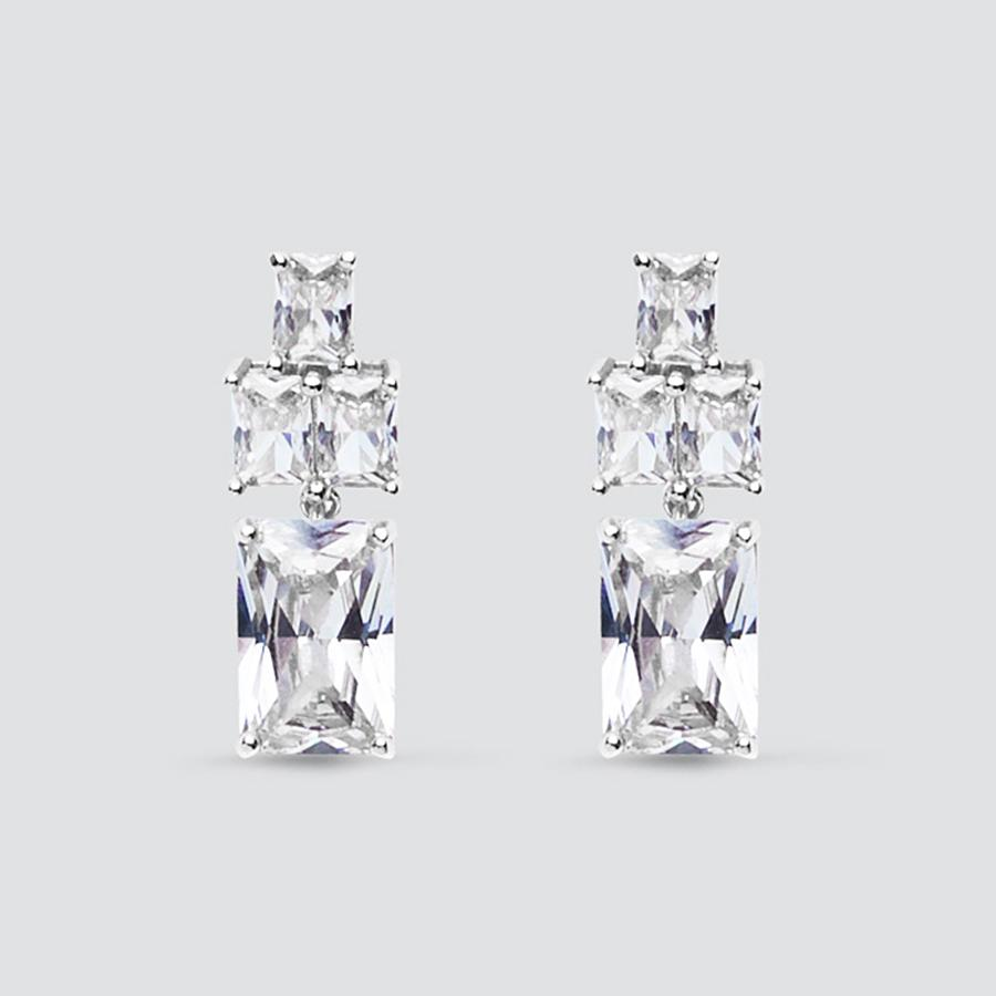 Graduated Silver Crystal Drop Clip On Earrings
