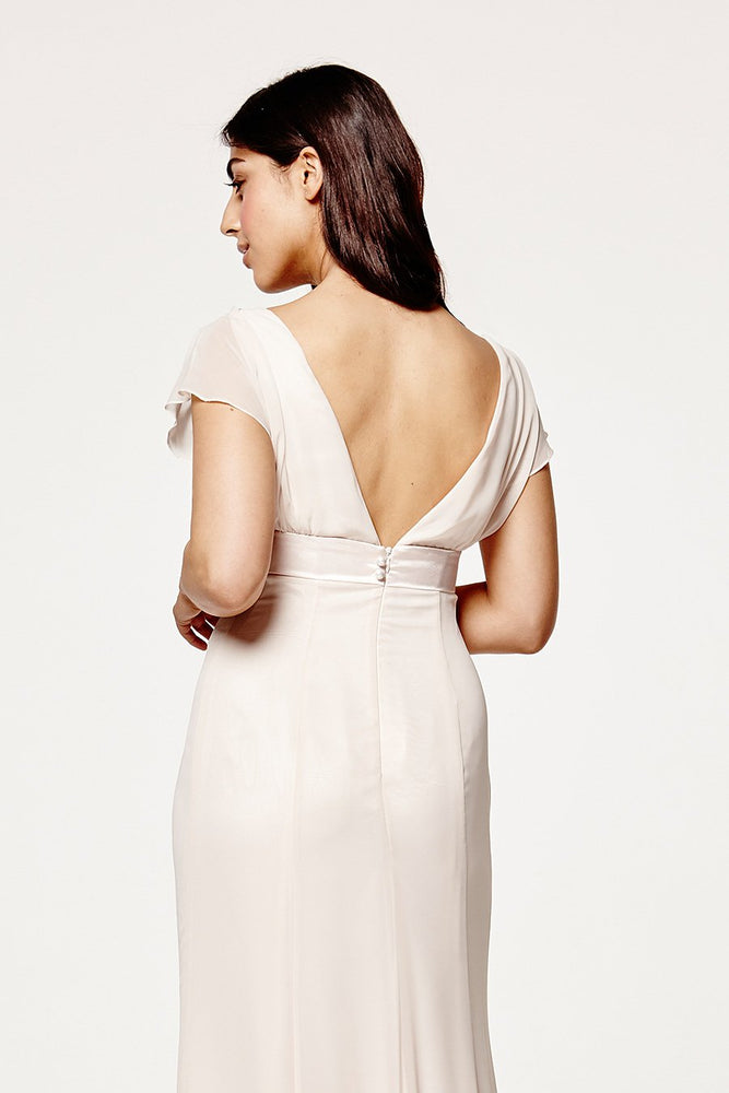 Isla Fitted Cream Soda Occasion Dress (Back zoom)