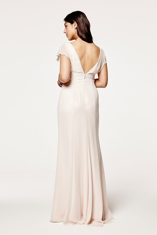 Isla Fitted Cream Soda Occasion Dress (Back)