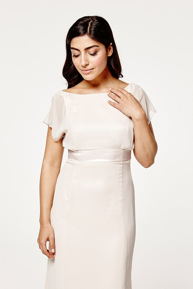 Isla Fitted Cream Soda Occasion Dress (Front zoom)